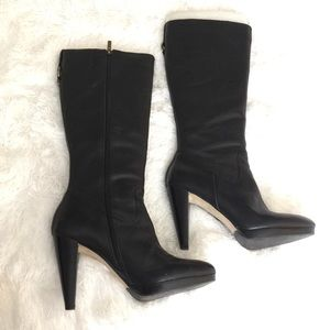 Black leather calf length platform boots 7